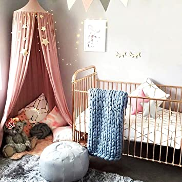 Amazon.com: Hiltow Cotton Canvas Dome Princess Bed Canopy Kids Play ...