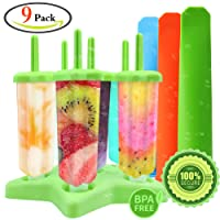 GeMoor 6pcs Frozen Ice Popsicle Moulds Set, Silicone Ice Lolly Mold with 3pcs Collapsible Funnels, BPA Free (9pack)