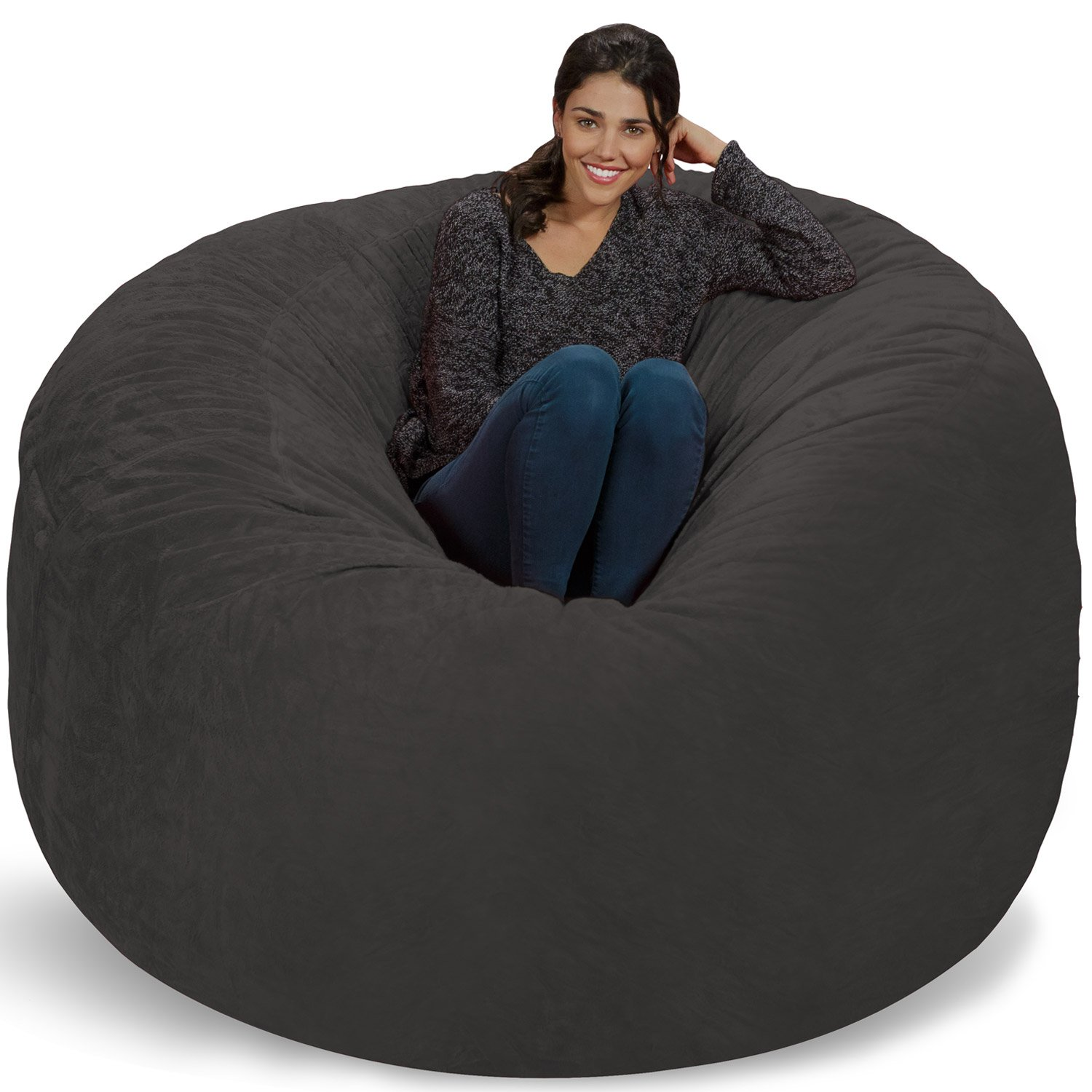 Chill Sack Bean Bag Chair: Giant 6' Memory Foam Furniture Bean Bag - Big Sofa with Soft Micro Fiber Cover - Grey Furry by Chill Sack (Image #1)