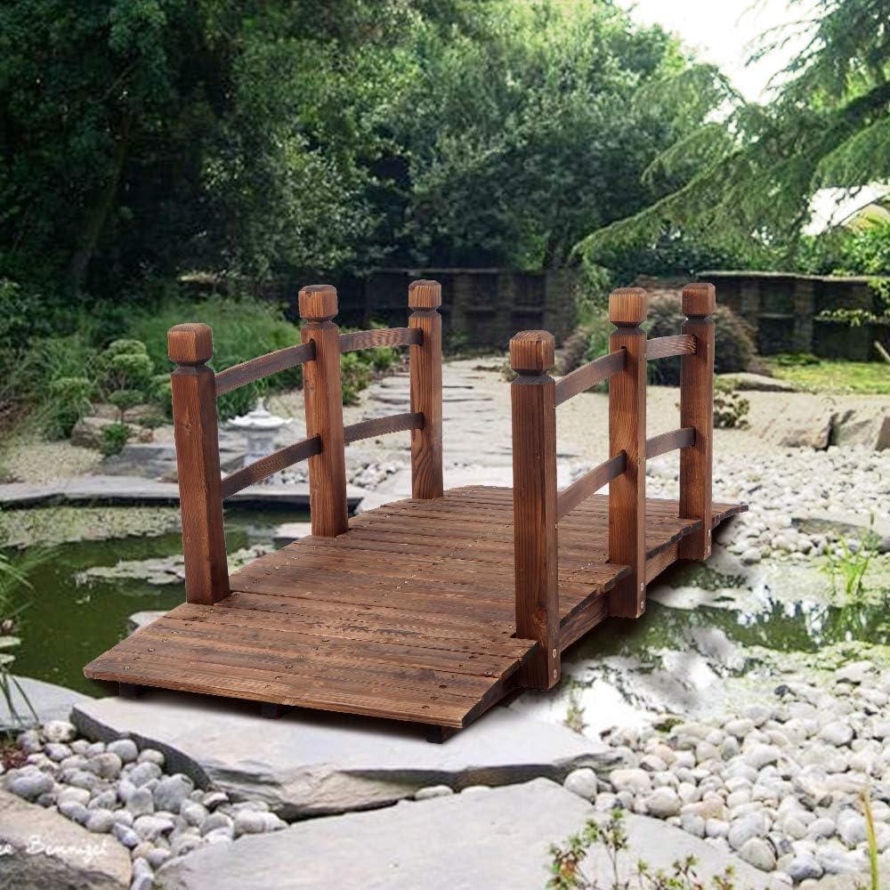 Carbonization Color Baywell Arch Bridge Small Wooden Bridge Garden Bridge Courtyard Outdoor Anticorrosive Wood Landscape With Rails Walkable Pond Overpass Garden Ornament Wood 150 x 67 x 56 CM
