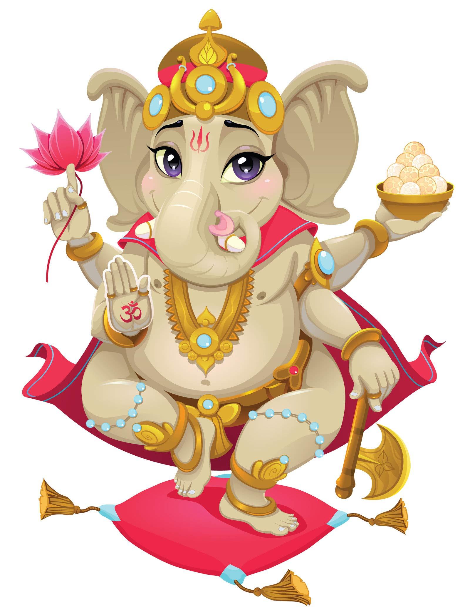 Frankies Cajun Customs Cute Ganesh Hindu God Vinyl Decal Wall, Car, Laptop - 66 inch