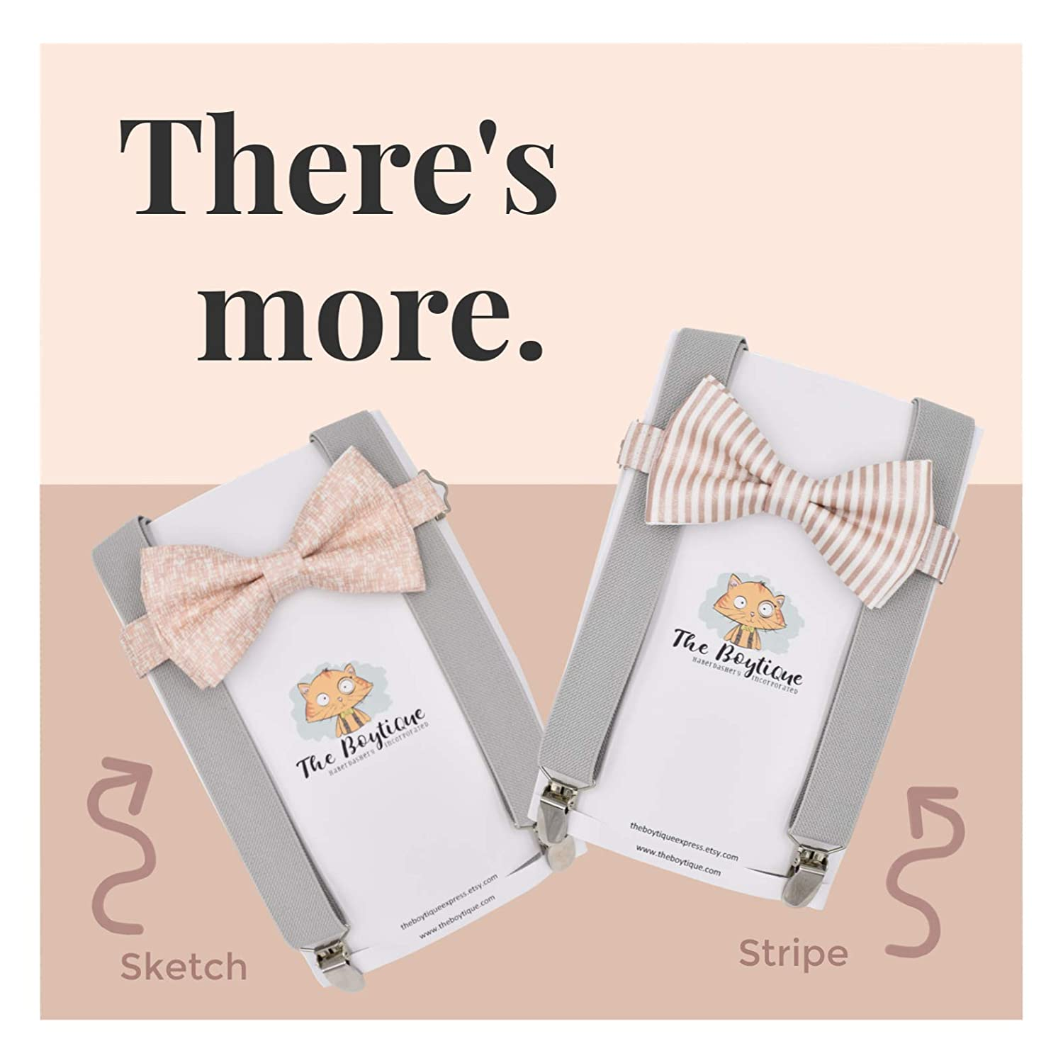 Rose Gold Bow Tie and Navy Suspenders
