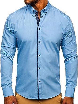 BOLF Hombre Camisa De Manga Larga Cuello Americano Camisa Elegante Camisa de Algodón Slim fit Estilo Casual 2B2: Amazon.es: Ropa y accesorios