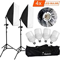 "YISITONG 4x 25W LED Professional Photography 20""x28""/50x70cm Softbox with E27 Socket Light Lighting Kit for Photo Studio Portraits, Product Photography and Video Shooting"