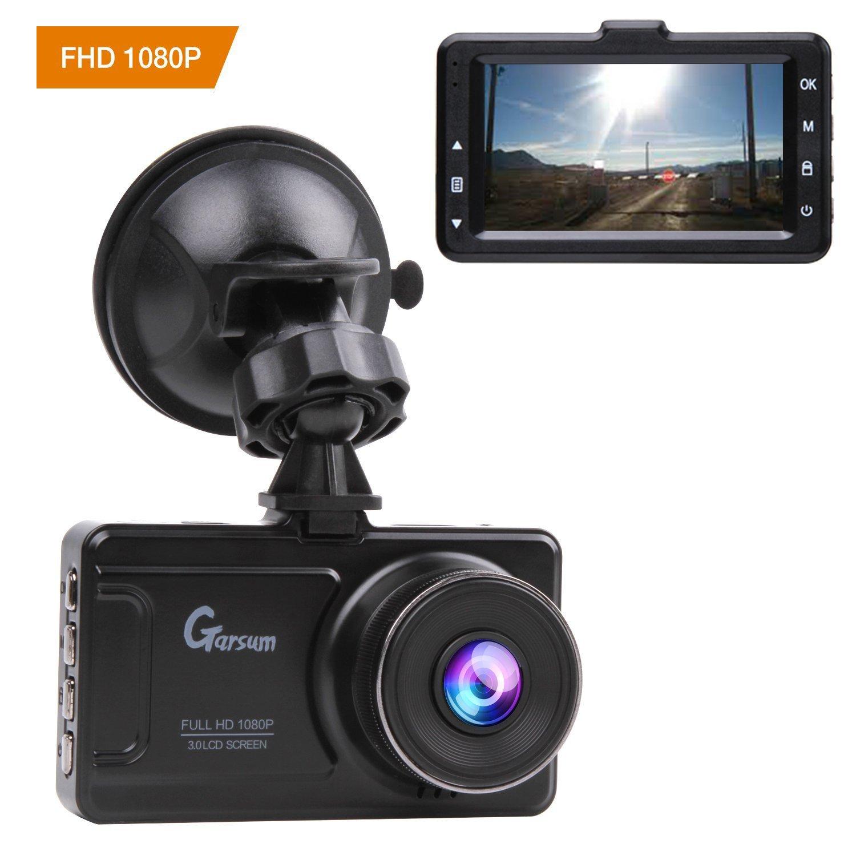 Auto Dash Cam 1080P Full HD Auto Video Recorder Obiettivo Grandangolare di 170 Gradi con Lente con Rilevatore 3 Pollici HD Display di Movimento, G-Sensor (Nero brillante) Garsumiss FBAGA80102