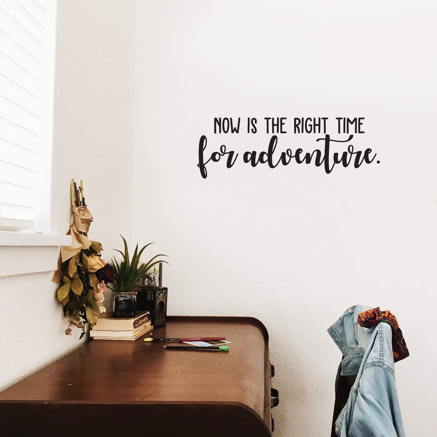 "Vinyl Wall Art Decal - Now is The Right Time for Adventure - 8"" x 25"" - Modern Cursive Traveler Vacations Quote for Home Bedroom Apartment Living Room Office Workplace Decoration Sticker"