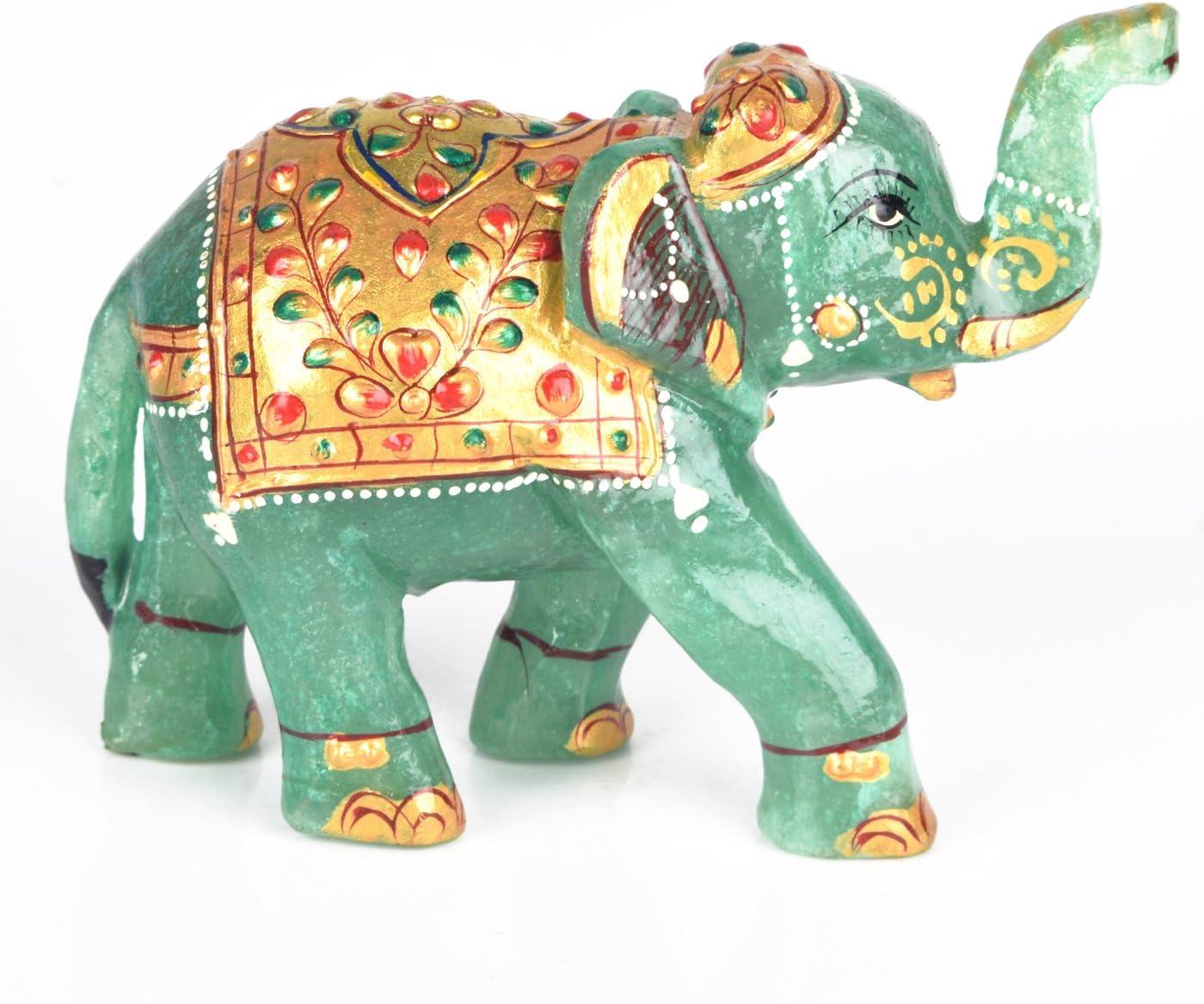 Gemhub Estatuilla de Animal como Regalo de cumpleaños Decorativo - Certificado de Laboratorio Aproximadamente 1529.00 CT Estatua de Elefante de Piedras Preciosas de Jade Verde DB-475
