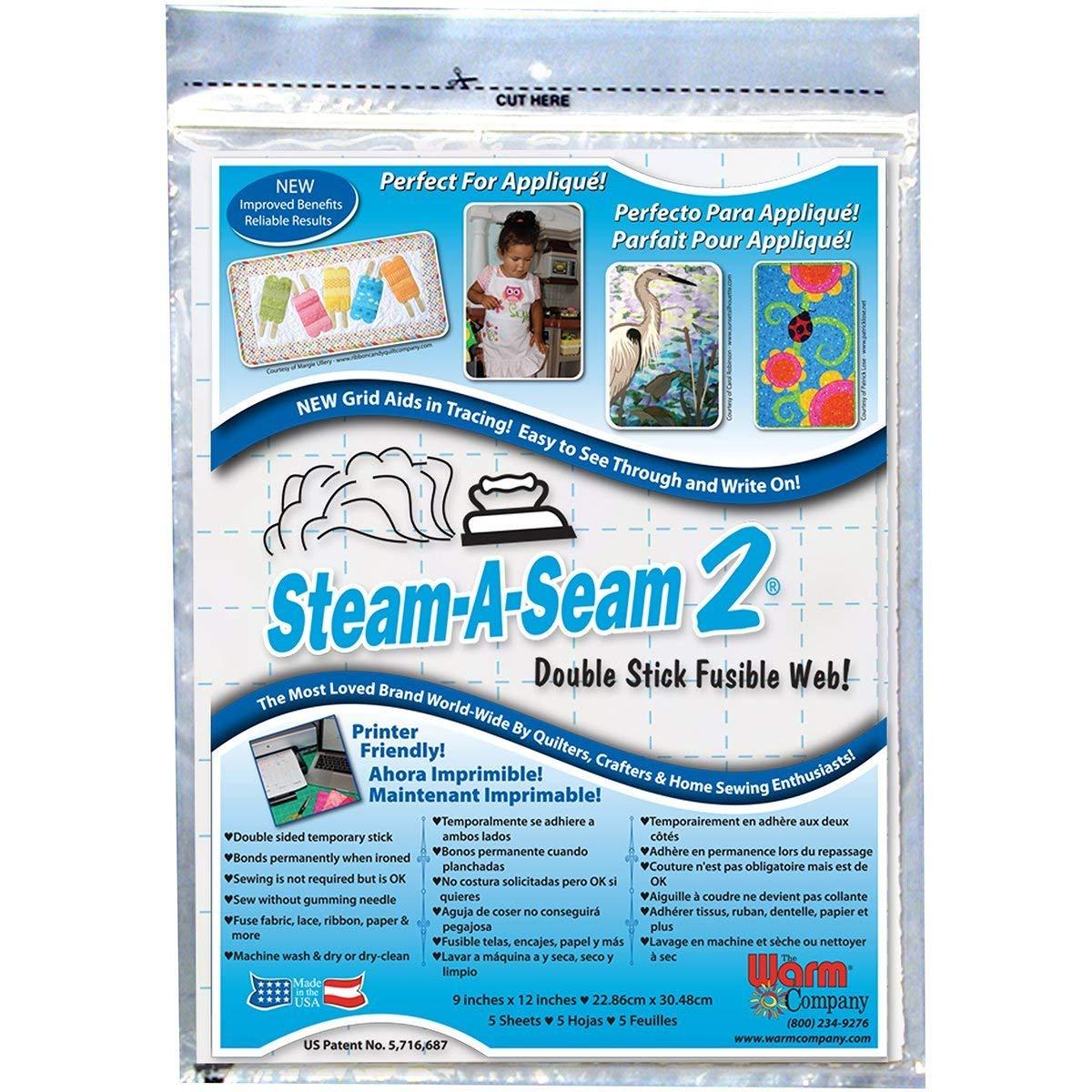 5517 Warm Company Steam-A-Seam 2 Double Stick Fusible Web-9X12 Sheets 5//Pkg