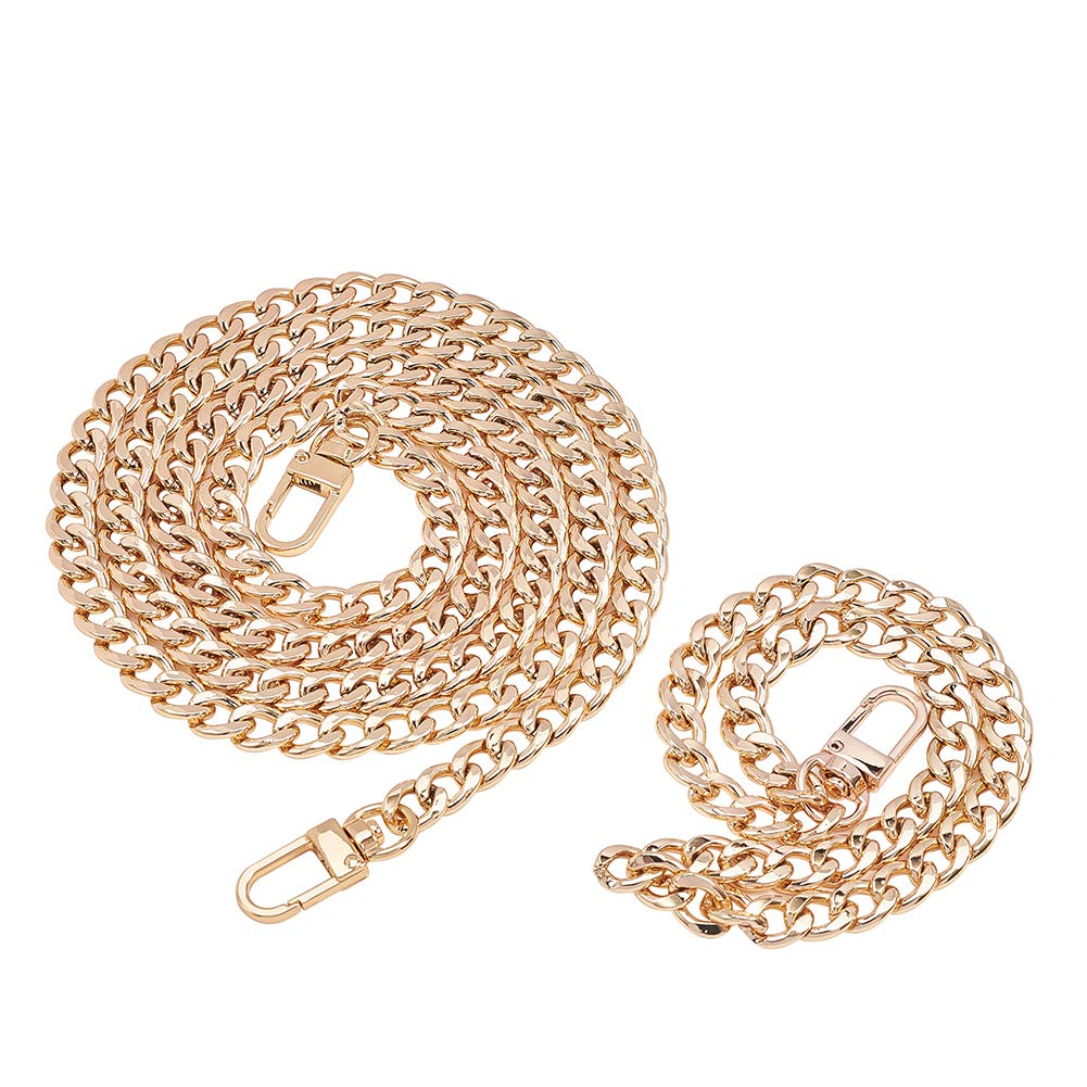 PH PandaHall 2 pcs Iron Flat Chain Strap Handbag Chains Accessories Purse Straps Shoulder Cross Body Replacement Straps with Swivel Buckles Golden Length 47 Inch//9 Inch