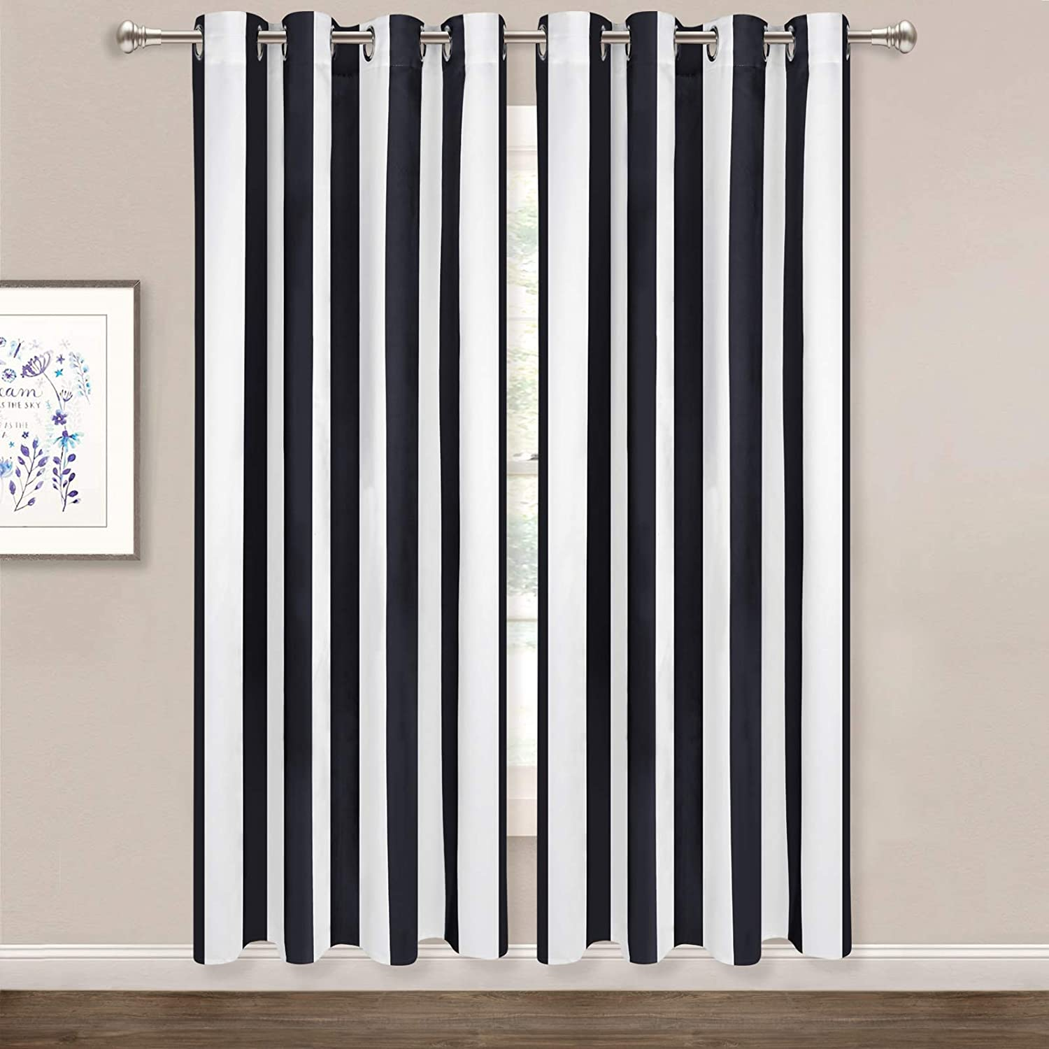 ASPMIZ Striped Window Curtains, Black and White Vertical Stripe Curtain Panel, Window Drapes with Grommets for Bedroom Living Room Decor, Set of 2 Panels, 52 x 63 Inch Length