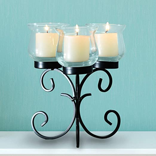 Asense Candle Holders Centerpiece Decorative Tealight Candle Holder For Table 3 Glass Votive Candelabra For Dining Table Coffee Table Mantelpiece Home Décor Home Kitchen