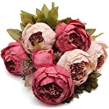 KING DO WAYKING DO WAY Grande Bouquet di di Seta Peony e Ortensie Artificiale Fiori Stile Europeo, Ideale per Matrimoni, Sposa, Partito, Casa, Studio Décor Fai Rosa Scuro 51cm
