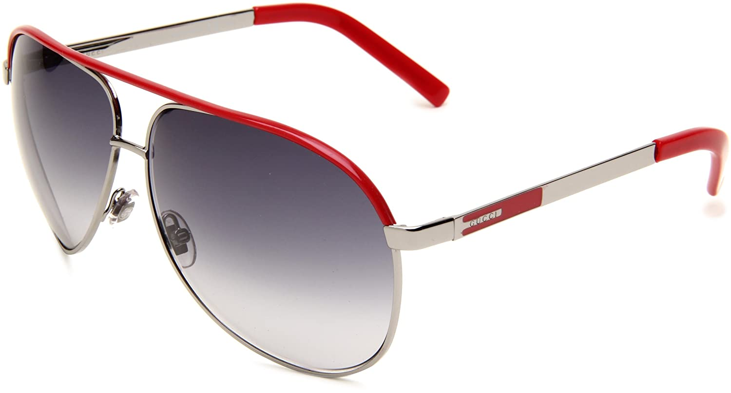 c15159b90 Gucci Gg 1827/S Niv Gun Metal/Red Sunglasses: Amazon.co.uk: Clothing