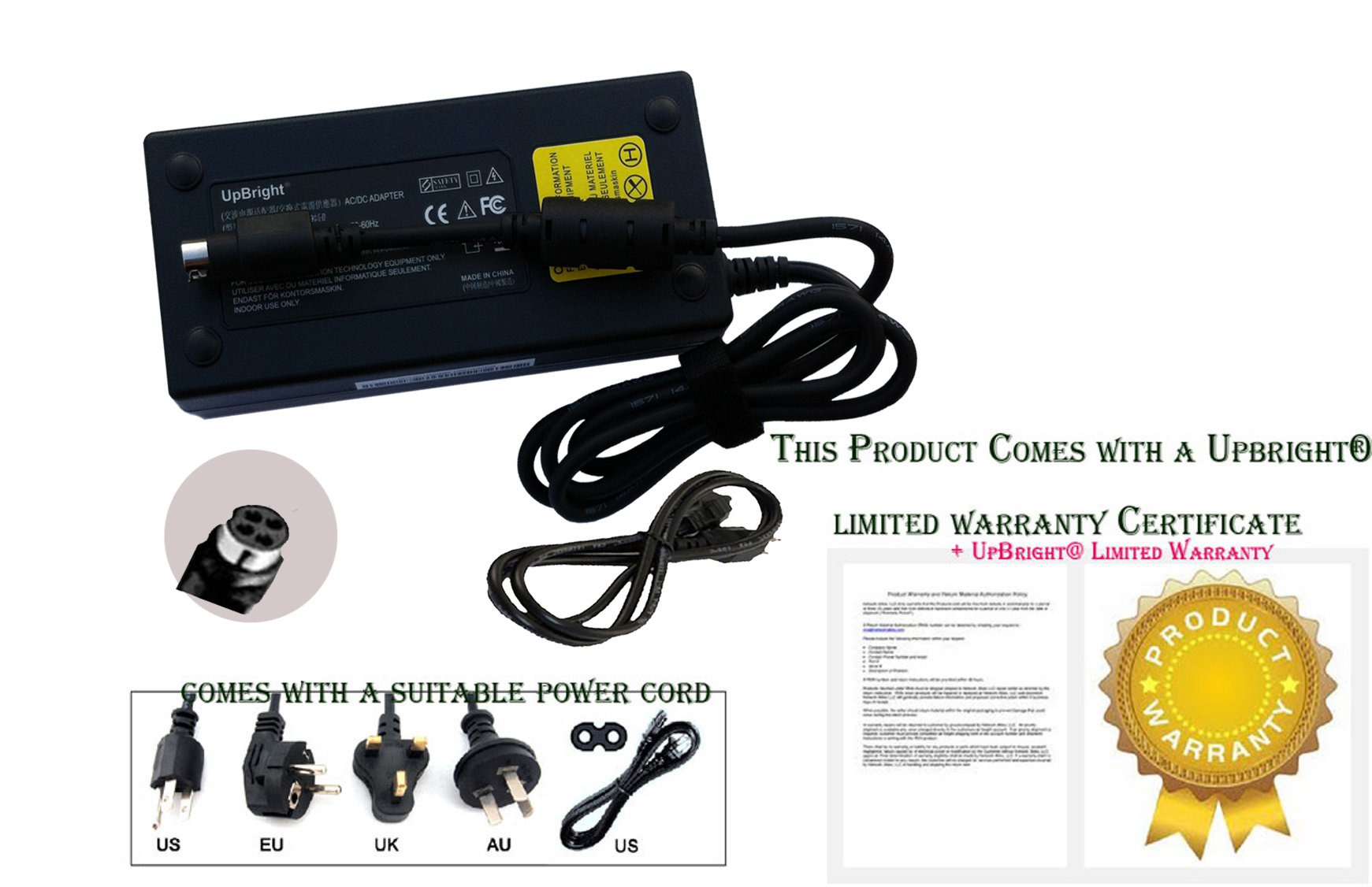 UpBright NEW 4-Femal-Pin 19V AC / DC Adapter For Sager NP8275 NP8275-S P170SM P170SM-A NP8295 P 177SM P177SM NP 8295 NP8180 P180HM Clevo Laptop Notebook PC 19VDC Power Supply Cord Charger Mains PSU