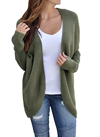 61f7f5c7d8 Women's Casual Long Sleeve Open Front Ribbed Knit Cardigan Sweaters Loose  Lace Up Back Oversized Outerwear