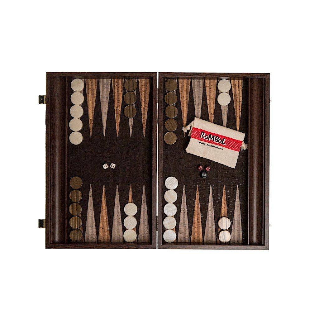 Backgammon, Luxus Kassette, Wenge mit Kork Intarsie, Holz, 47,5 cm