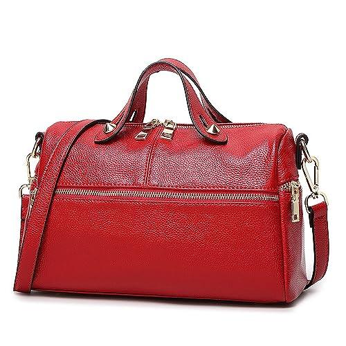 41e8f0abb7 Mn Sue Baguette Doctor Style Multi Zipper Medium Top Handle Pillow Boston  Barrel Satchel Handbag for Lady (Red)  Handbags  Amazon.com