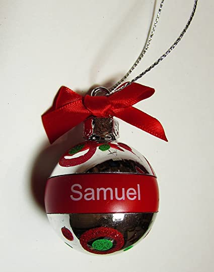 ganz christmas ornament personalized ball 2 38 red silver - Red Silver Christmas Decorations