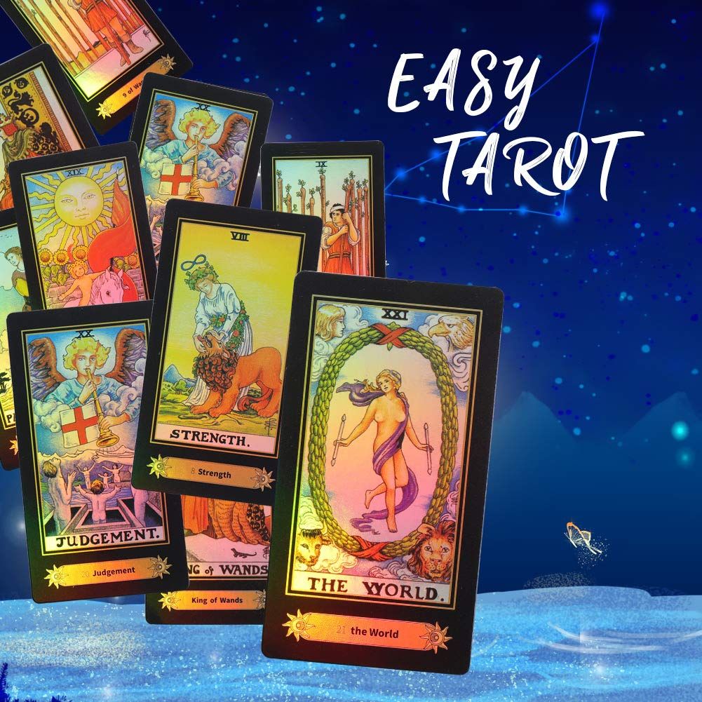 78Pcs/Set Shiny Tarot Cards Beautiful Rider Waite Tarot Future Telling Game Cards Set for Beginner Board Game (English Edition)
