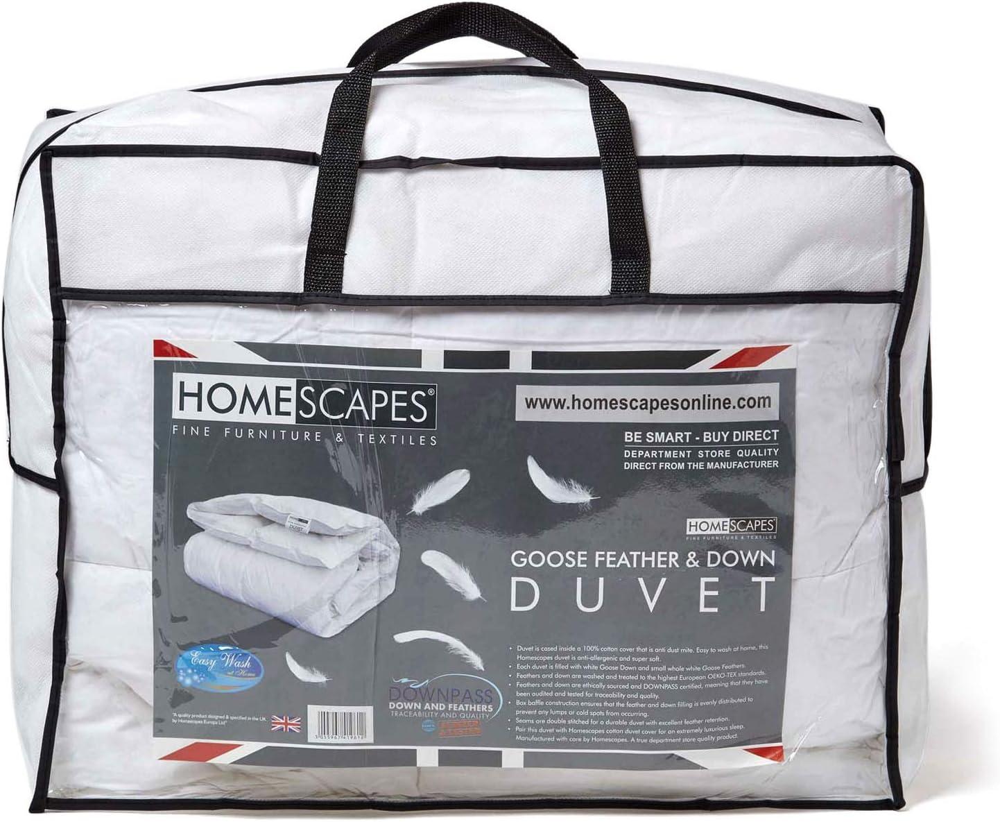 Homescapes Couette Printemps//Automne en Plume et duvet d/'oie 135 x 200 cm 10.5 tog