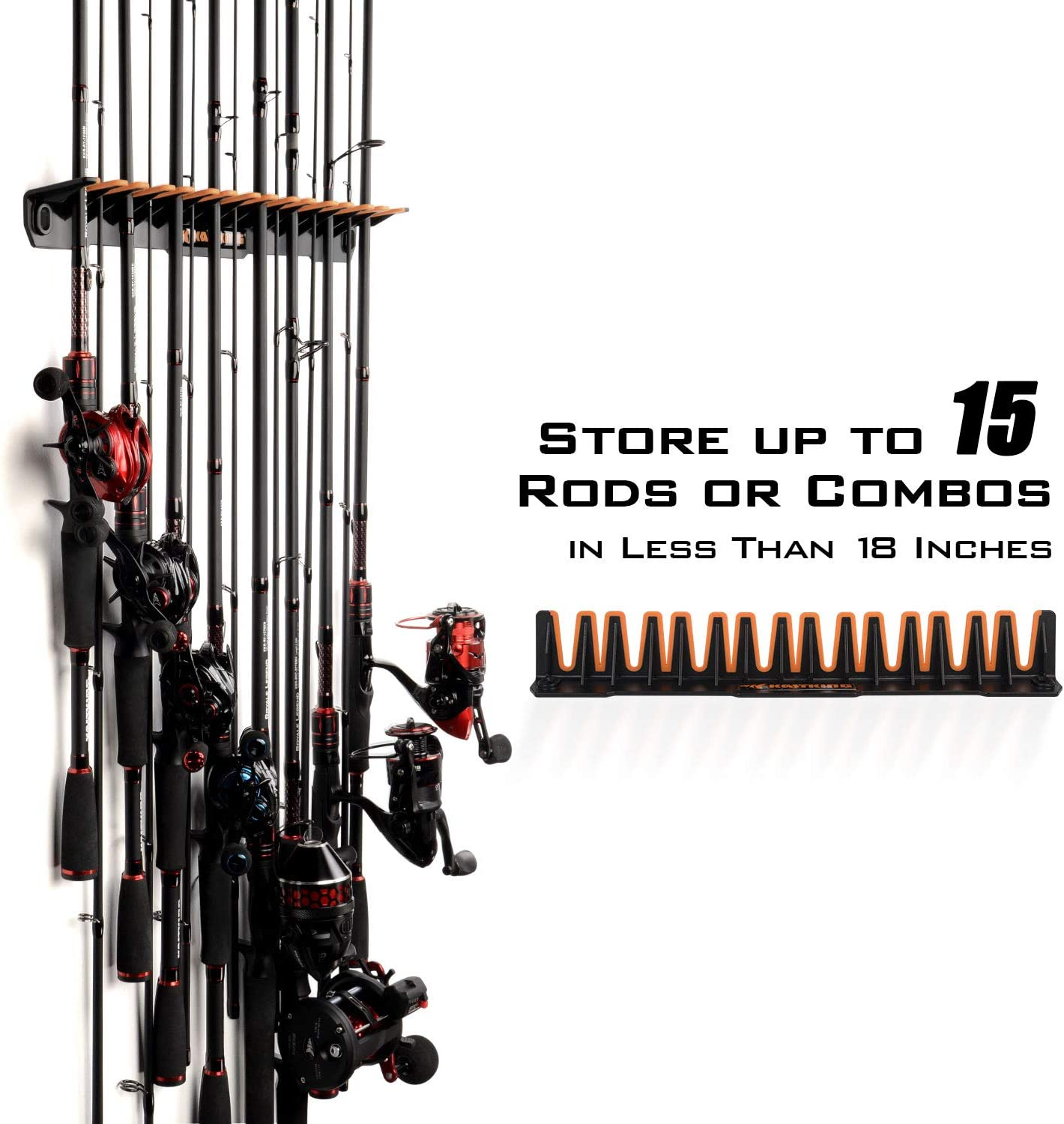 Saltwater Vertical Wall Mounted Fishing Pole Rack up to 15 Rod and Reel Combos