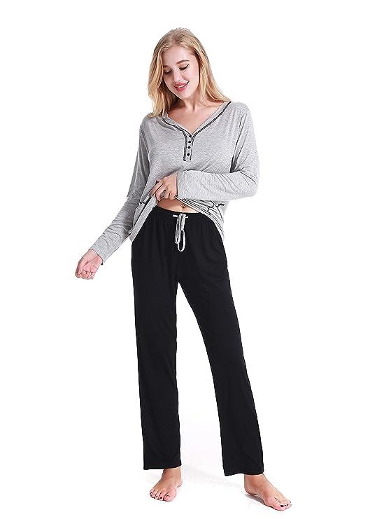 Kuorle Schlafanzug Set, Schlafanzüge für Damen, Pyjama für Damen, V-Neck Damen Zweiteiliger Schlafanzug Langarm Pyjama Nachtw