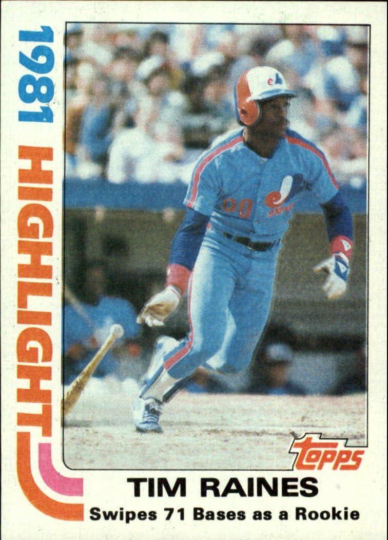 1982 Topps Baseball Card #3 Tim Raines