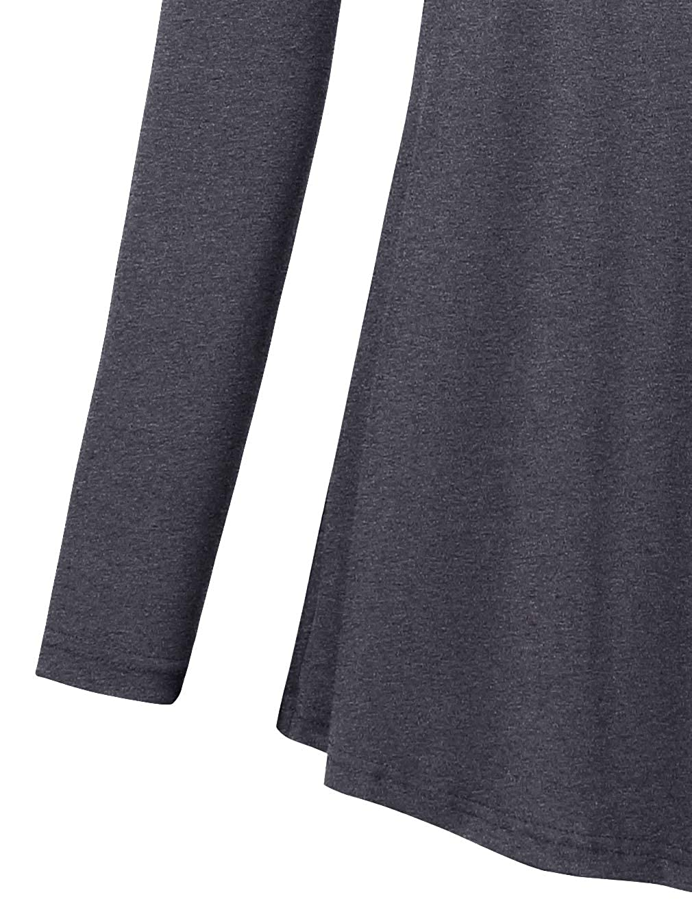 YOYAN Womens Long Sleeve Cowl Pleated Neck Button Decor Casual Solid Tunic Top Blouse