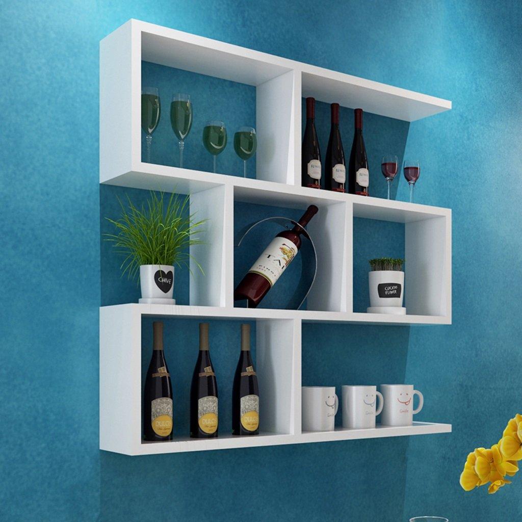Walled Shelf Modern Simple Restaurant Shelf Decorative Red Wine Rack Set Lattice Storage Tower ( Color : White , Size : 8020cm )