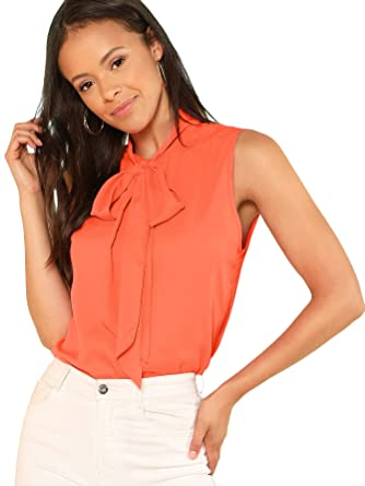 d984f3f10a8ce Floerns Women s Tie Bow Neck Sleeveless Chiffon Solid Blouse Top Orange XS