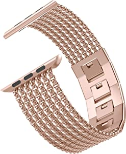 Wearlizer Compatible with Apple Watch Band 42mm 44mm for iWatch Series 5 4 3 Gold Womens Mesh Loop Chain Stainless Steel Wristband Beauty Metal Strap Chain Replacement Sleek Bracelet Series 2 1