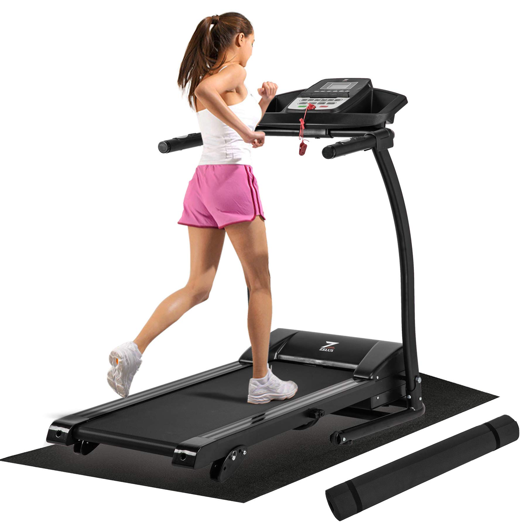ZELUS Folding Treadmill Electric Motorized Running Machine with Downloadable Sports App Control Walking and Running OR Treadmill Mat, Cup Holder, MP3 Player & Wheels Easy (Upgraded Treadmill with Mat)