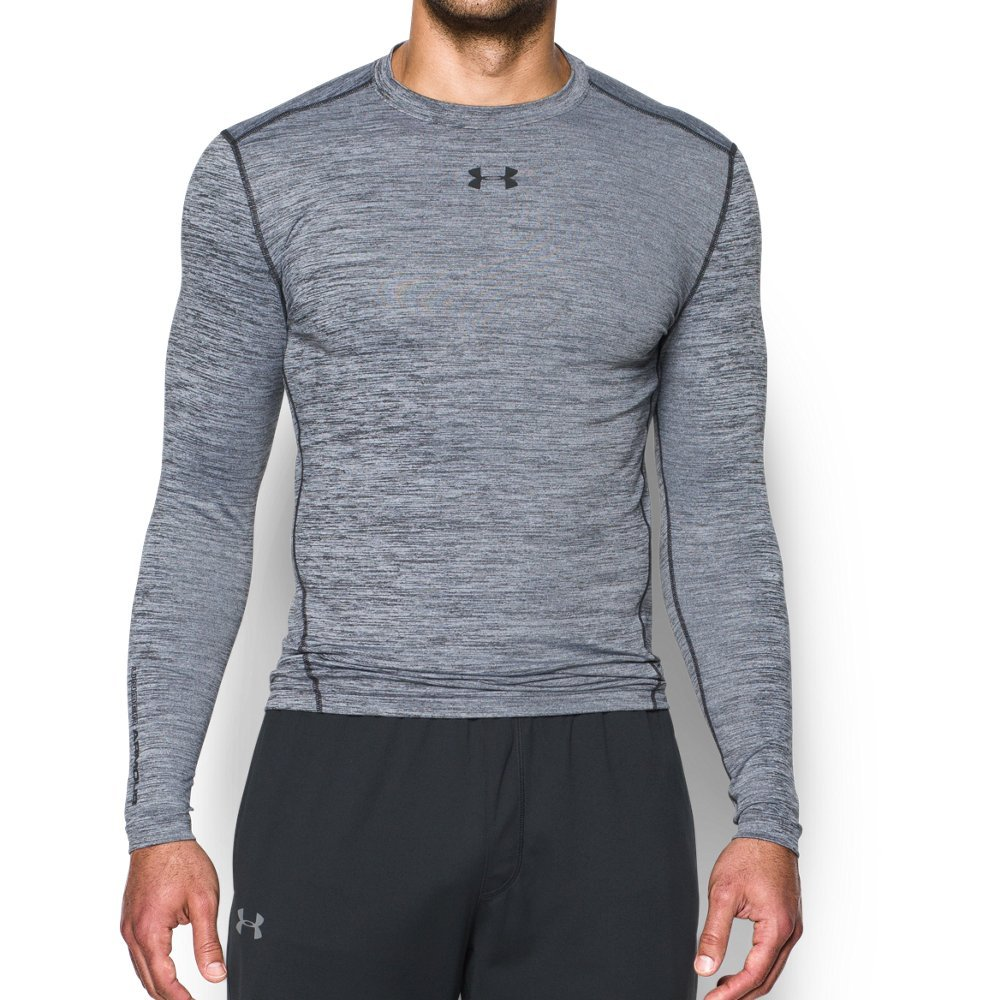 Under Armour Men's ColdGear Armour Twist Compression Crew, White/Black, Medium by Under Armour (Image #1)