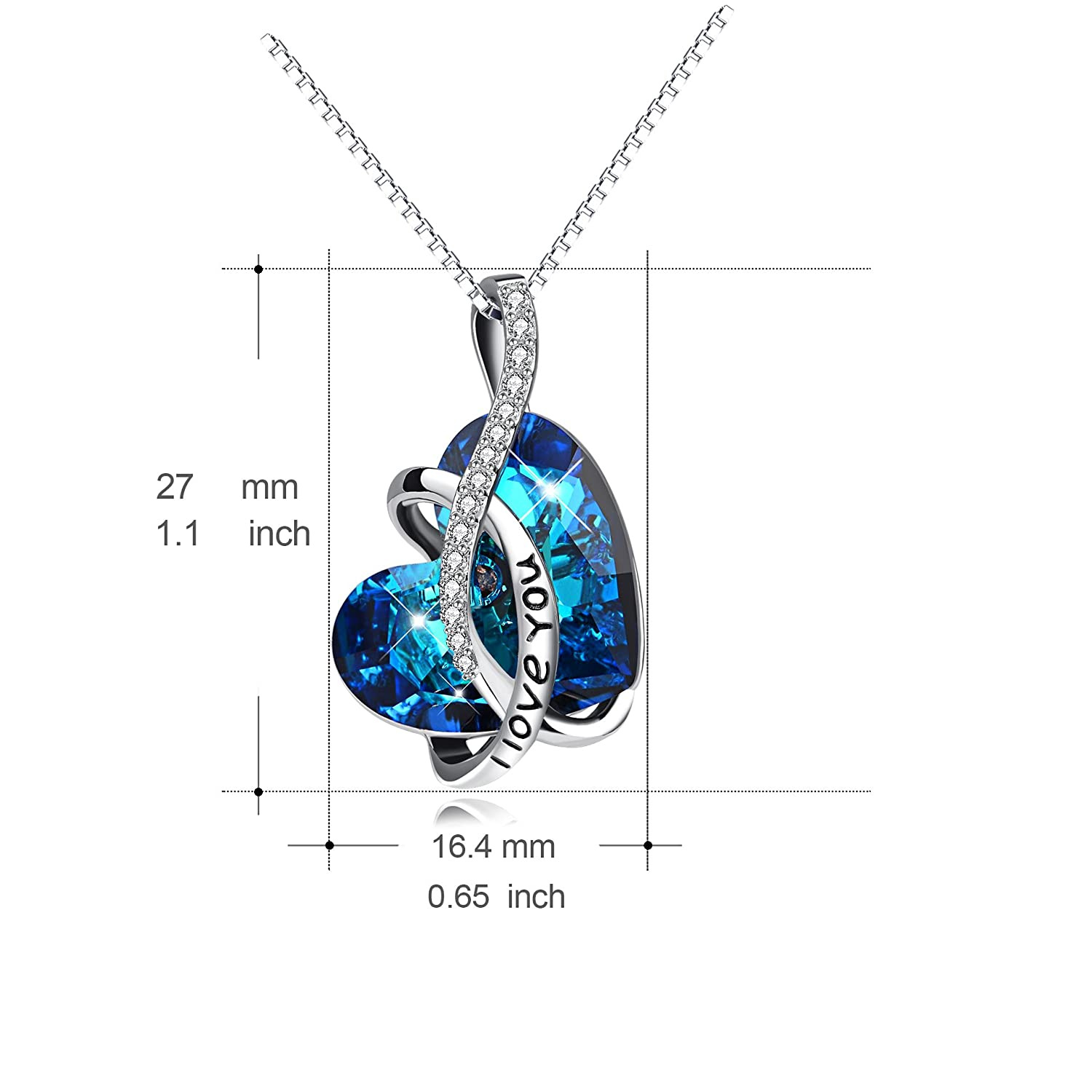 d6db3a521 Amazon.com: AOBOCO Jewelry I Love You Sterling Silver Heart Pendant  Necklace for Girls with Blue Crystals from Swarovski Anniversary Birthday  Gift for Women ...