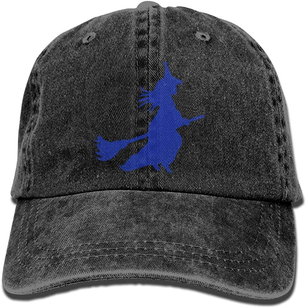 Huagestroe Witch Flying On Broomstick Cowboy Cap Rear Cap Adjustable Cap