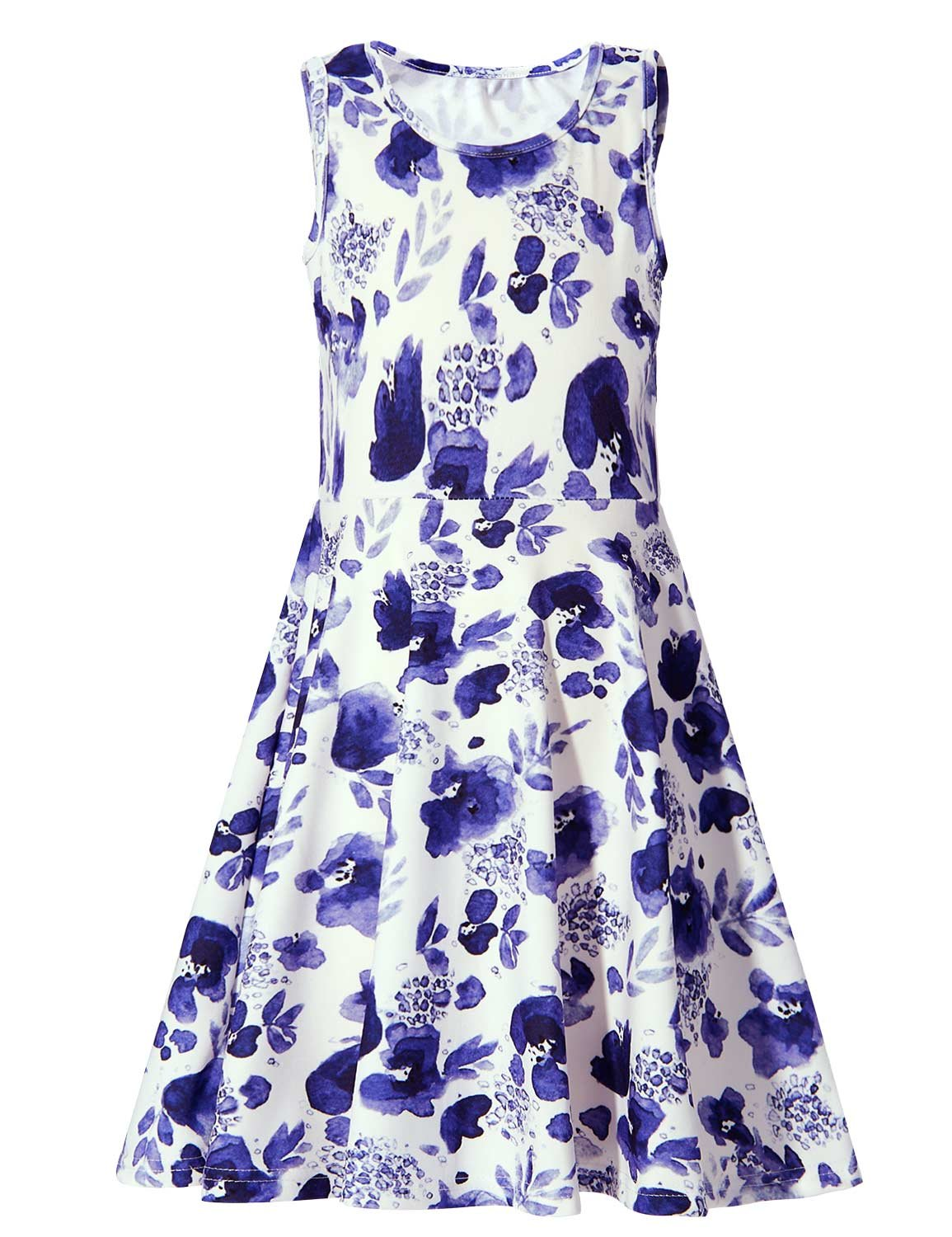 BFUSTYLE Blue White Flower Vintage Dresses for 9 Year Old,Fashoin Little Girls Crew-Neck Skater Playwear Dress Sleeveless Floral Dress in Summer (L,Blue White Flower)