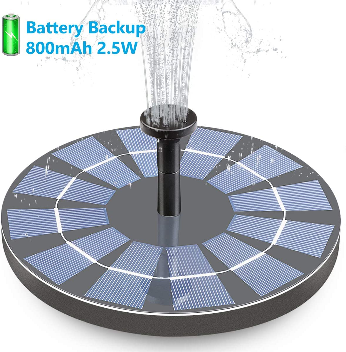 Hiluckey Solar Fountain with Battery Backup