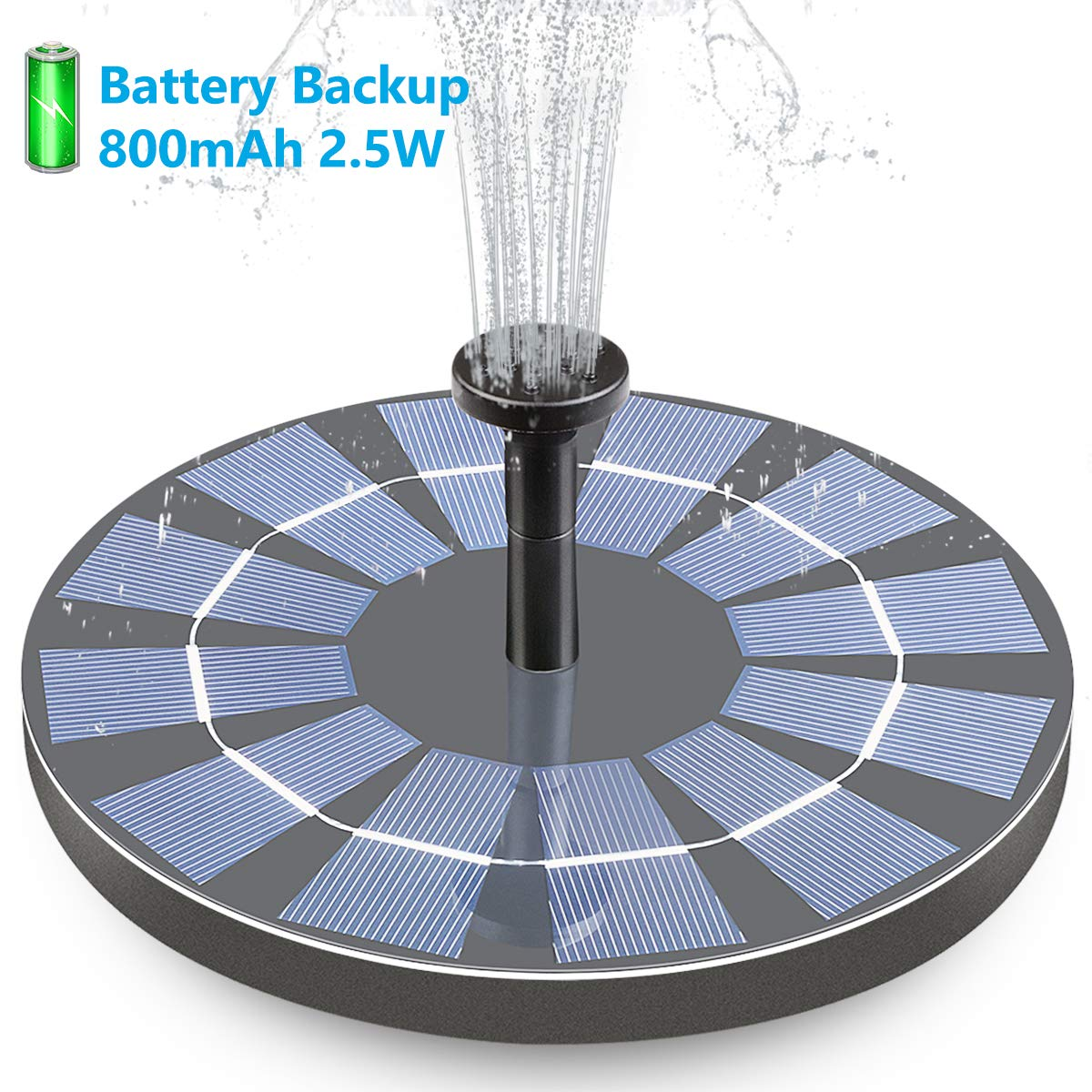 Hiluckey Solar Bird Bath Fountain with Battery Backup, 2.5W Free Standing Solar Powered Water Fountain Pump Kit