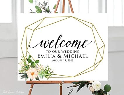 Amazon Com Dozili Welcome Wedding Sign Succulent Geometric