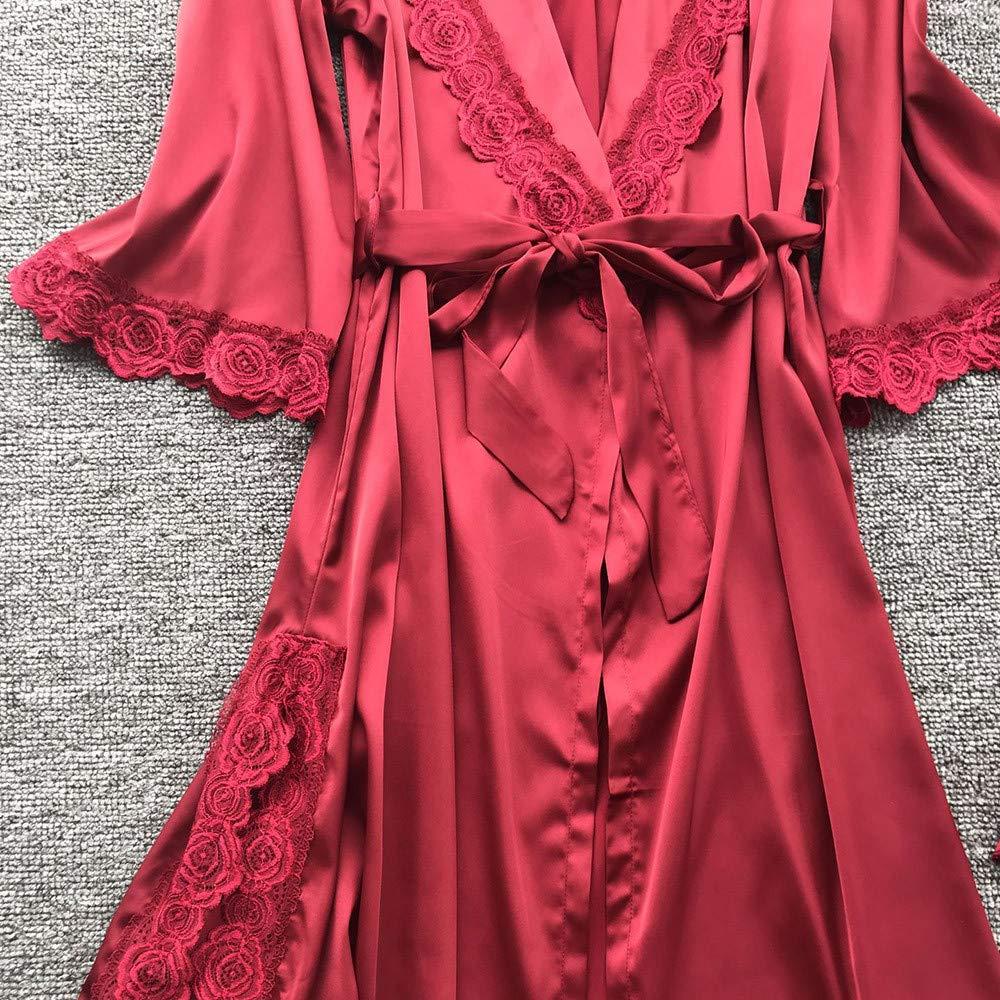 Women Silk Robe Dress Lace Babydoll Nightdress Sleepwear Kimono Set at Amazon Womens Clothing store:
