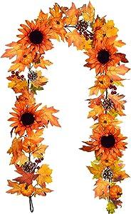 Artiflr 6 Ft Fall Maple Leaf Garland Hanging Vine, Artificial Berries Sunflower Pumpkin Autumn Decoration for Wedding Party Thanksgiving Dinner Fireplace Door Frame Doorway Backdrop Decor