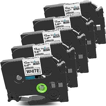 "Label Tape Black on White Laminated For Brother PT-D400AD TZe-231 TZ-231 0.47/"""