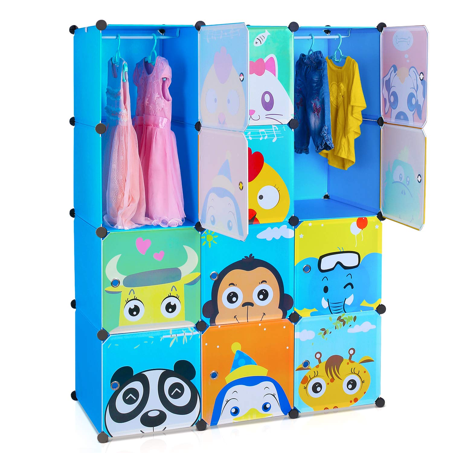 HOMFA 12-Cube DIY Cabinet Storage Unit Organiser for Kids Stackable Plastic Cube Shelves Multifunctional Modular Cupboard Wardrobe with Animal Cartoons on Doors for Clothes Shoes Toys Books School Bags Yellow (110 x 46.5 x 145 cm) HF