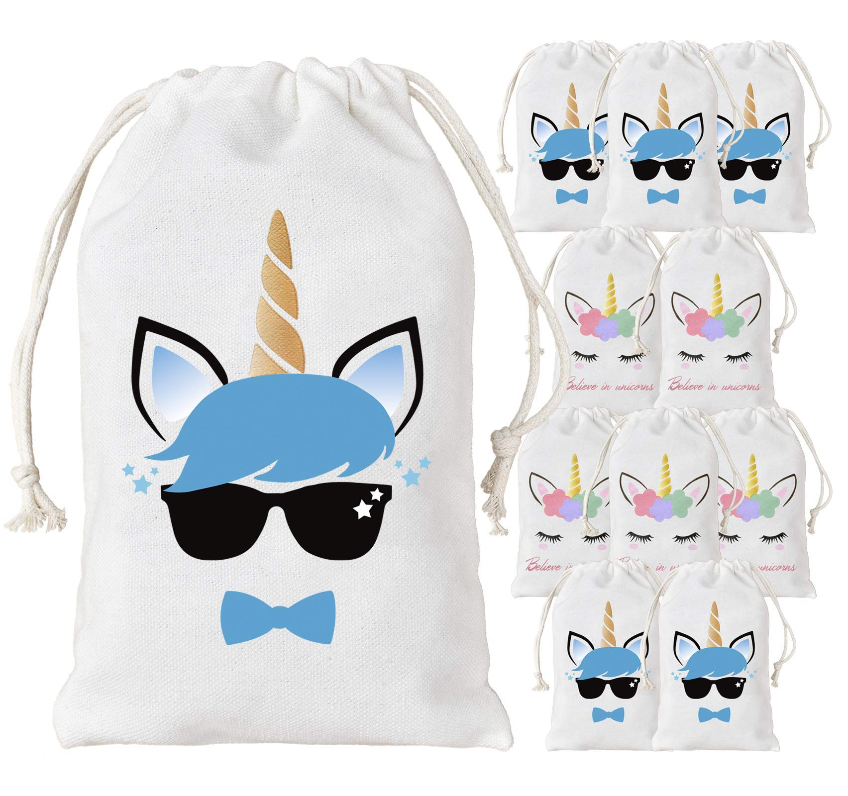 KREATWOW 12 Pack Unicorn Favor Bags Party Supplies Boys and Girls Reusable Party Treat Goodie Bags for Birthday Party Supplies 5 x 8''