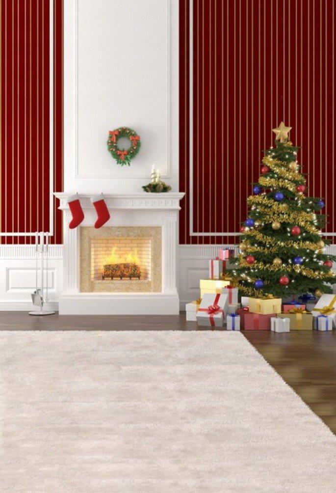 A.Monamour クリスマスホリデーパーティー 壁装飾 松の木 靴下 ギフト 暖炉 5x7フィート 写真背景 ビニール - ホワイトカーペット暖炉 松の木   B01N0E5K66
