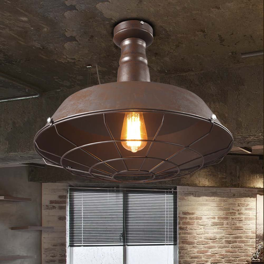 Industrial Nautical Barn Ceiling Light - LITFAD 14'' Old Rust Wire Guard Single Light Chandelier Semi Flush Pendant Light