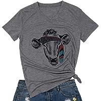 FAYALEQ Cow Head Bandana Funny T-Shirt Women's Loose Casual Short Sleeve Tee Tops Blouse