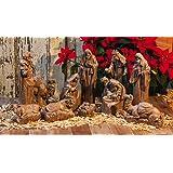 New Creative Resin Carved Nativity Scene, 11 Piece Set