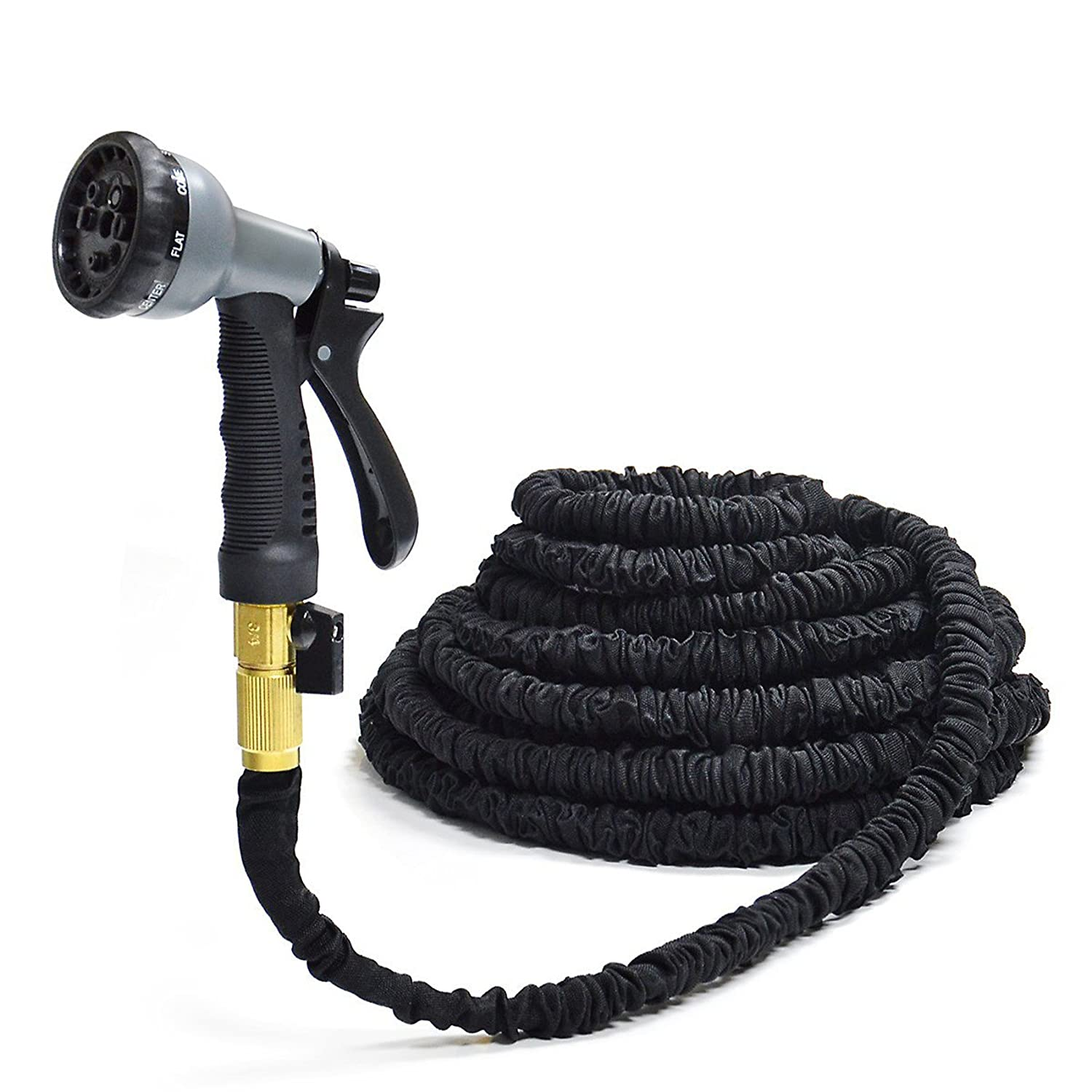 100 Ft Hose MpingT Magic Expandable Flexible Stronger Deluxe Garden Water Hose Garden Hose Flexible Expandable Hose Pipe Brass Fittings Magic Hose With 8 Function Spray Nozzle Black