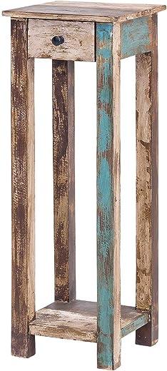 MÖBEL IDEAL Telefontisch Vintage Holz Bunt 30 x 30 x 90 cm Kommode im Vintage Look Beistelltisch im Shabby Chic Stil 1